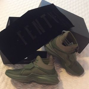 Puma The trainer hi by Fenty olive green size 6